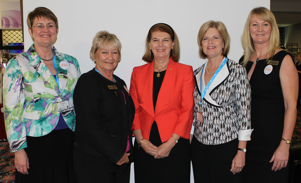ADVOCATING FOR WOMEN: LGAQ President Margaret De Wit, Whitsunday Cr Jan Clifford, Governor of Queensland, Her Excellency Ms Penelope Wensley AC, Whitsunday Mayor Jennifer Whitney and national ALGWA president Kathy Bensted at the ALGWA conference, which was held in the Whitsundays last week.
