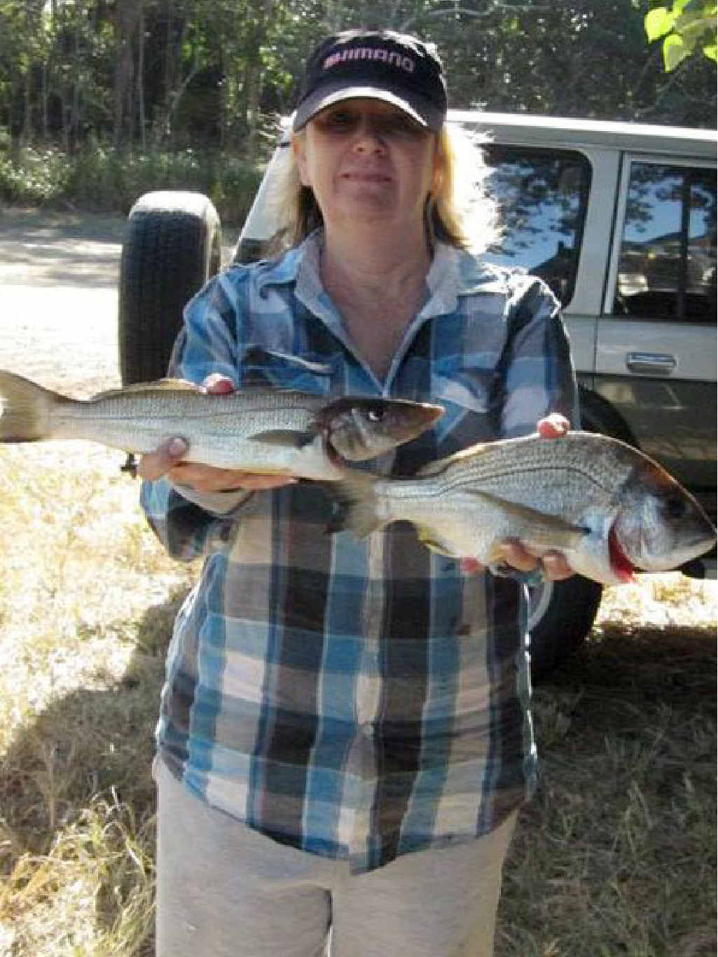 Sue Campbell with her whiting and hubby's bream.