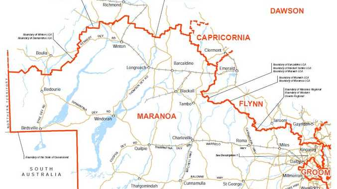 Electoral map for the seat of Maranoa