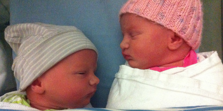 The newly born Weekes twins Parker on the left, Poppy on the right.