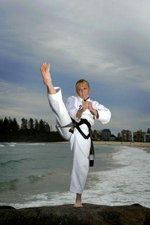 Tina Johnson of Shim Jang Taekwondo on Coolangatta beach