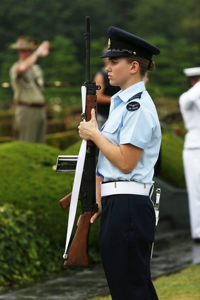 Aircraftwoman Katherine Hare from Australia's Federation Guard at the Australian commemorative service at the United Nations Memorial Cemetery Korea.