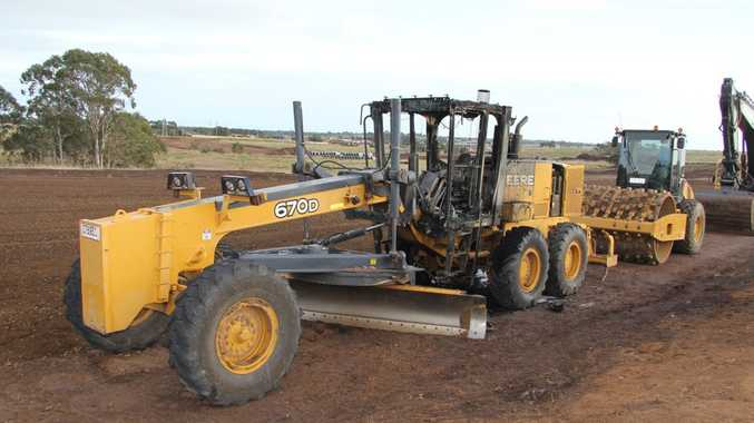 The cabin of this grader in Kawungan was set alight between July 27 and 28.