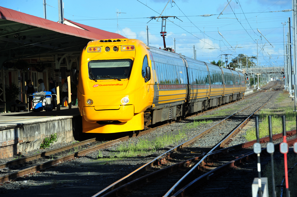 An empty Tilt Train travelling southbound to Bundaberg collided with two cows, causing the front wheels of the train to derail this morning.