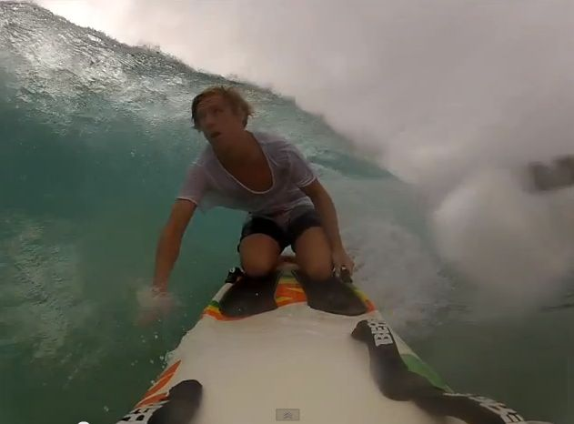Gold Coast lifesaver Jerry Dennis riding some waves at Kirra. Source: YouTube