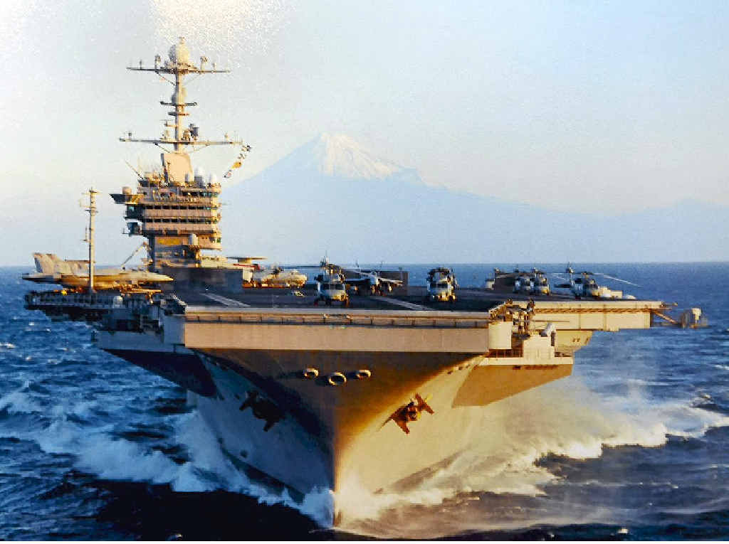FAREWELL: The giant USS George Washington will head up the Coast from Brisbane today.