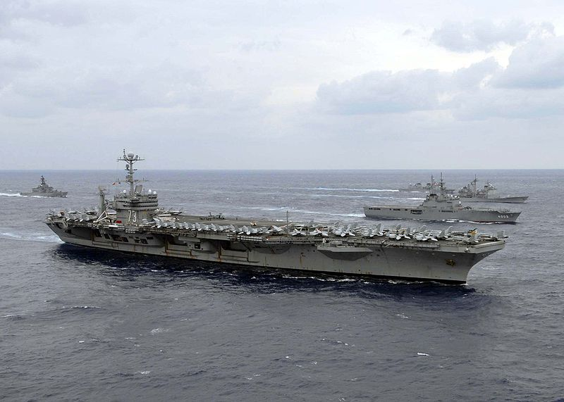 USS George Washington during a photo exercise with Japan Maritime Self-Defense Force ships.