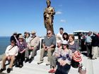 The families of those lost in Hervey Bay seas gathered on the Harbour rock wall, for the official opening of the life size statue of St Peter. The Kassulke family came together for Harold Kassulke and his neighbour, James Shea who were both 61 when the sea claimed them on March 14, 1974.
