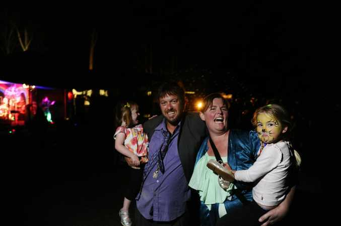 Matt Cramp and Carla Deery with their daughters Angel and Ruby at the Rock Concert for Carla fundraising event at the Kungala Hall on Saturday night. Photo JoJo Newby / The Daily Examiner