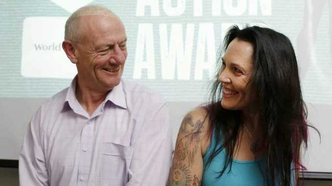 GOOD FILM CAUSE: World Vision Australia chief executive, Tim Costello with Byron Bay Film Festival Director J'aimee Skippon-Volke.