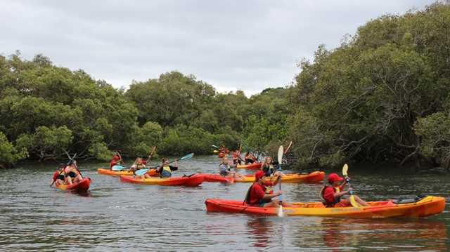 The Wollumbin Dreaming youth leadership group embarks on the Balunjali Cultural Kayaking Tour.