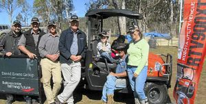 GREAT EFFORT: David Evans Group after sales manager Scott Timms, sales representative Steve Blakemore and Warwick branch manager Robert Collman, with Kubota's zone manager Nick Ridgway of Brisbane, who presented Angus, Abby, Phil and Sonya Bowles with their new Kubota RTV at their Maryvale property last Wednesday.