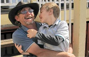 Phil Bowles and his son, Angus, share a close bond.