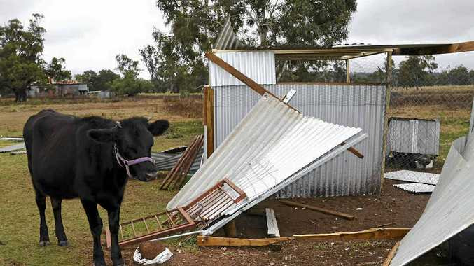 SUPER CELL: Damage from the storm that hit Pratten and Bony Mountain in June.