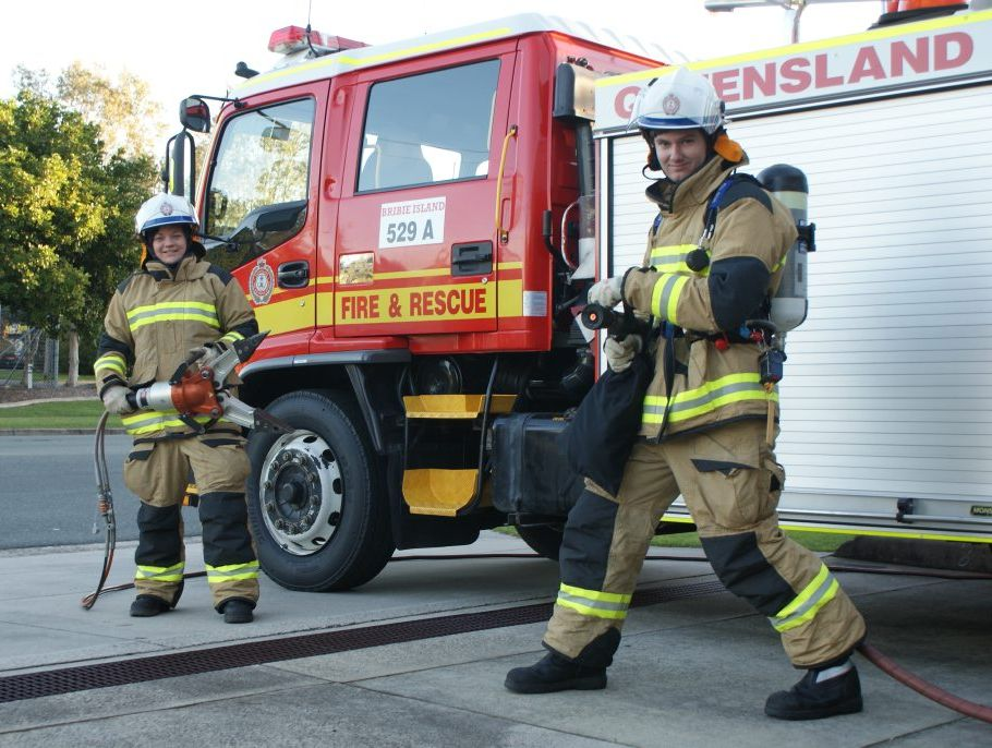 Firefighters on the job