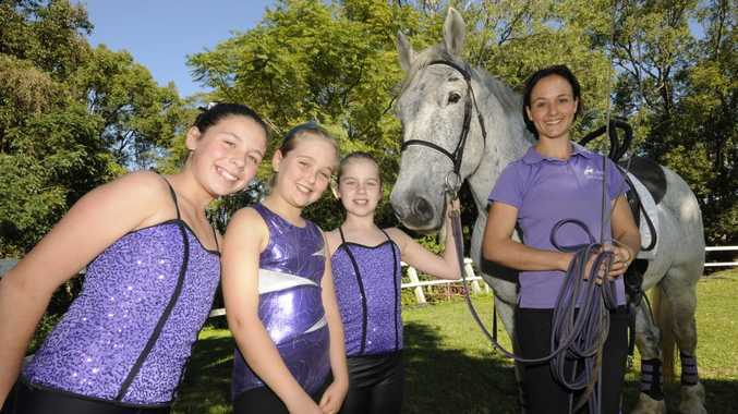 Celebrating the horses Birthday on Sunday at the ridding for the Disabled at TinTenbar from the Byron Bay Equestrian center Vaulting team Ella Duplessis, Lucy McDonald, Alanah Osborne, Horse Kamilaroi Yorkshire, and Tess Ferguson.