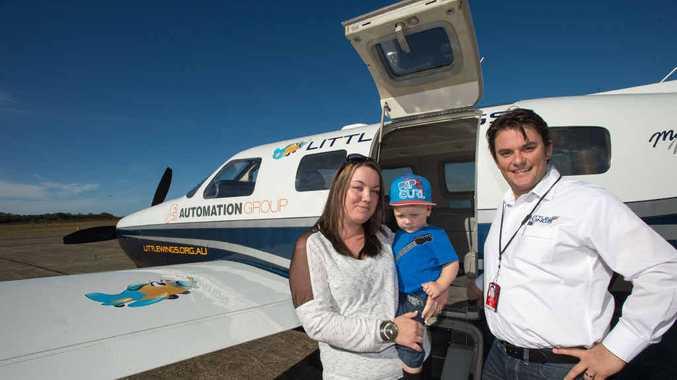 Blayze Berglund, his mum Tecia and pilot Adrian Nesbitt.