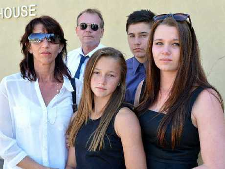 The Garrels family, from left, Lee, Michael, Georgia, Lachlan and Gemma outside Mackay Courthouse after an investigation into Jason Garrels death.