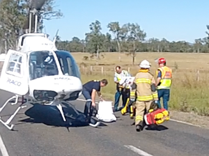 Passenger treated on scene after sedan and truck collide