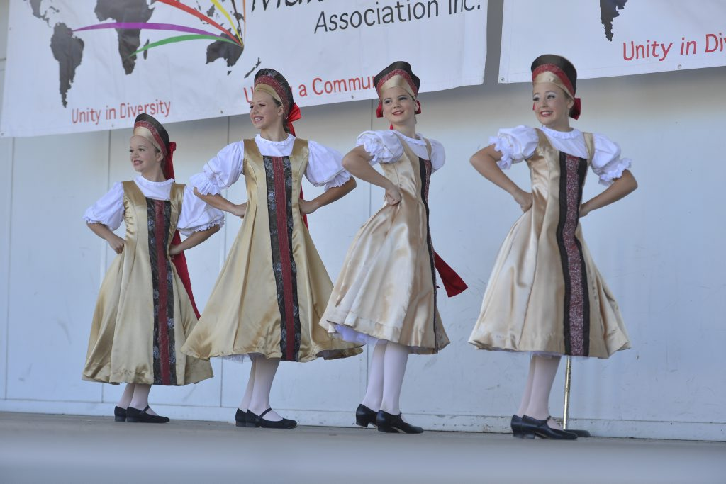 Lucy Perrett, Grace Graham, Abbey Murray and Ainsley Childs, from Rampton's Danzenergy Studio, performed a Russian style dance at the 2013 Multicultural Festival at the Gladstone Marina.