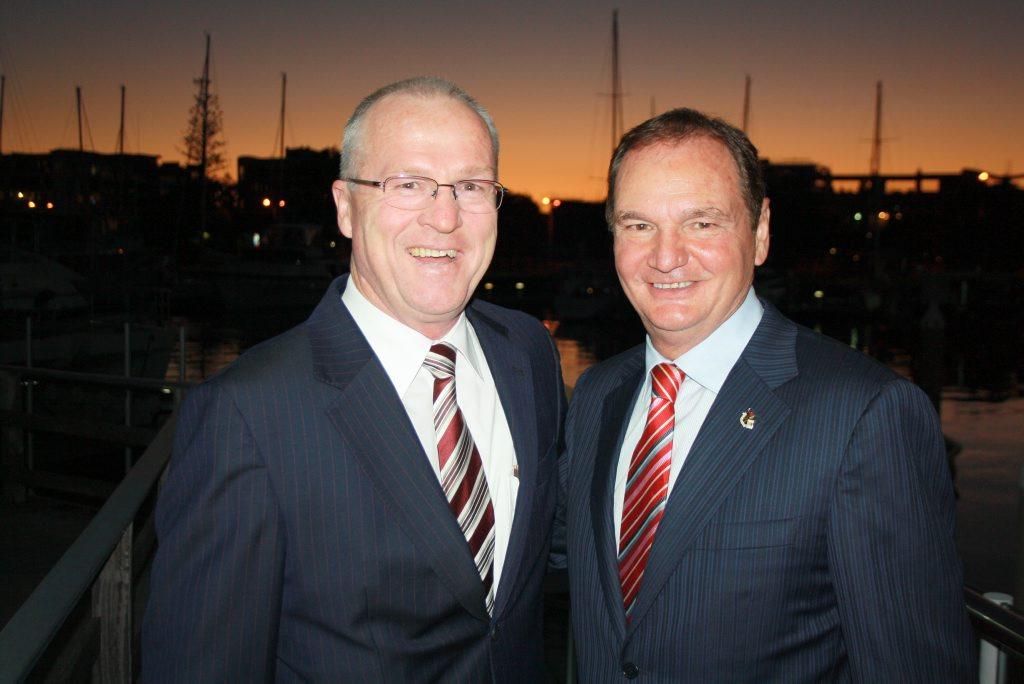 Sunshine Coast Mayor Mark Jamieson, left, and Ipswich Mayor Paul Pisasale at Mooloolaba.