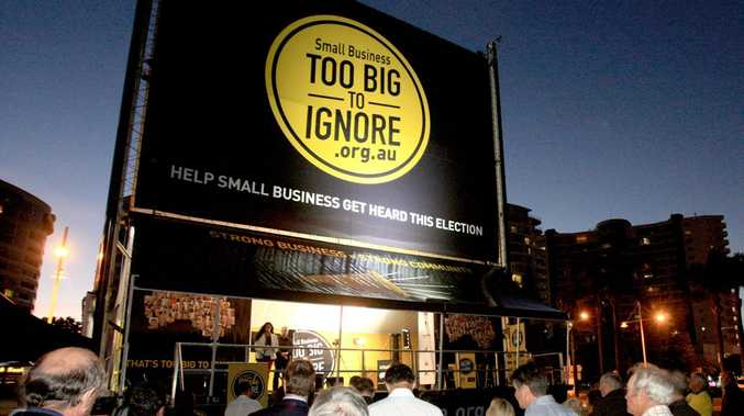 The small business billboard in Chris Cunningham Park. Photo: Blainey Woodham/Daily News