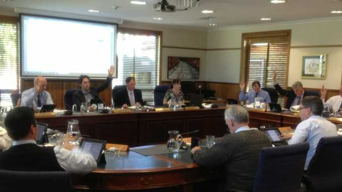 Fraser Coast councillors voting at the meeting on Wednesday.