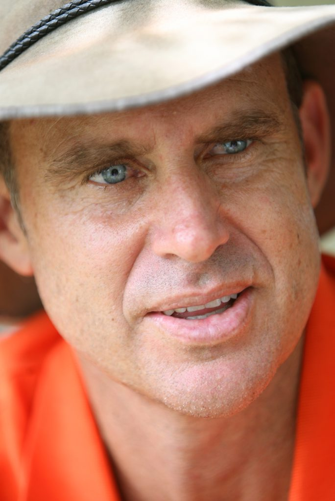 Former Australian cricketer Matthew Hayden attends an Australia Day barbeque at Redbank Plains residents Wayne and Trish Jones home as part of winning a Stihl competition. Photo: Rob Williams / The Queensland Times