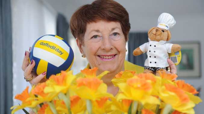 Barbara Smith with some of the merchandise on sale for Daffodil Day on August 23 to raise funds for the Cancer Council.