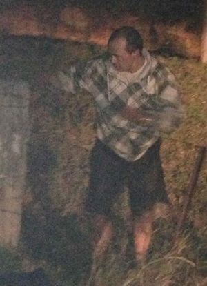 Tweed Police are trying to find this man who left an over turned a burning car in Banora Point.