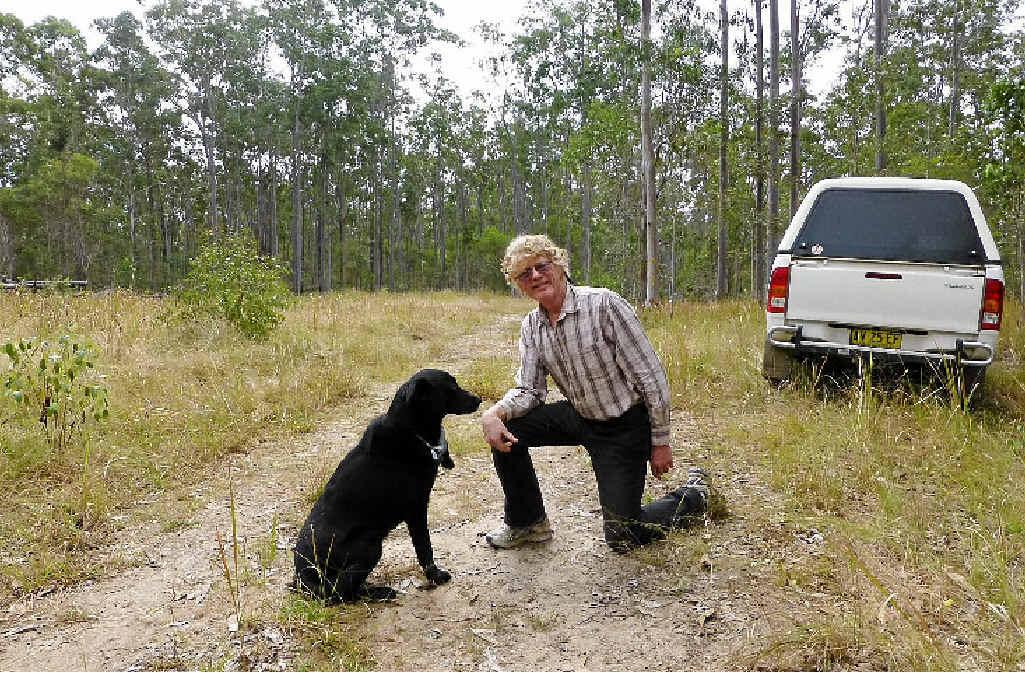 Oscar the koala-sniffing dog with trainer Jim Shields.