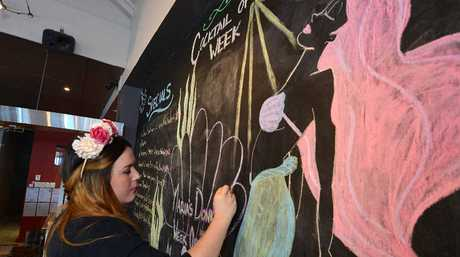 Maria's Donkey bar manager Jemma Klok has developed a flair for chalk art.