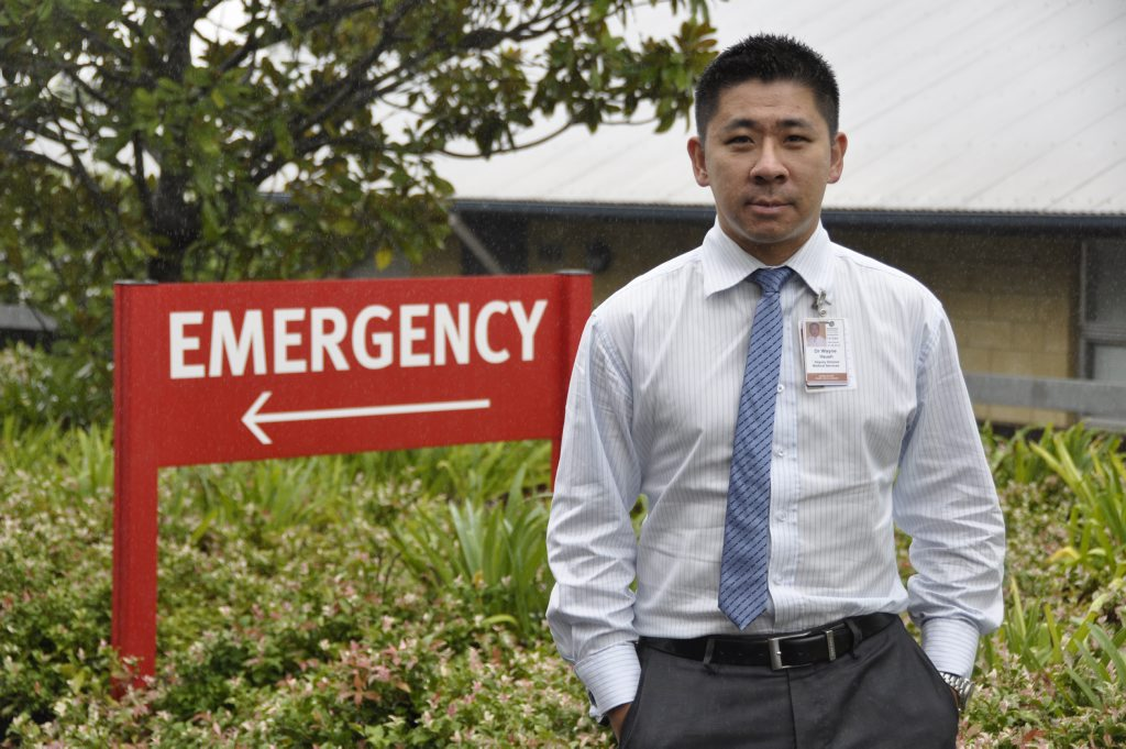 Dr Wayne Hsueh outside Emergency at Toowoomba Hospital. Story on meeting emergency targets . Photo Gen Kennedy / The Chronicle