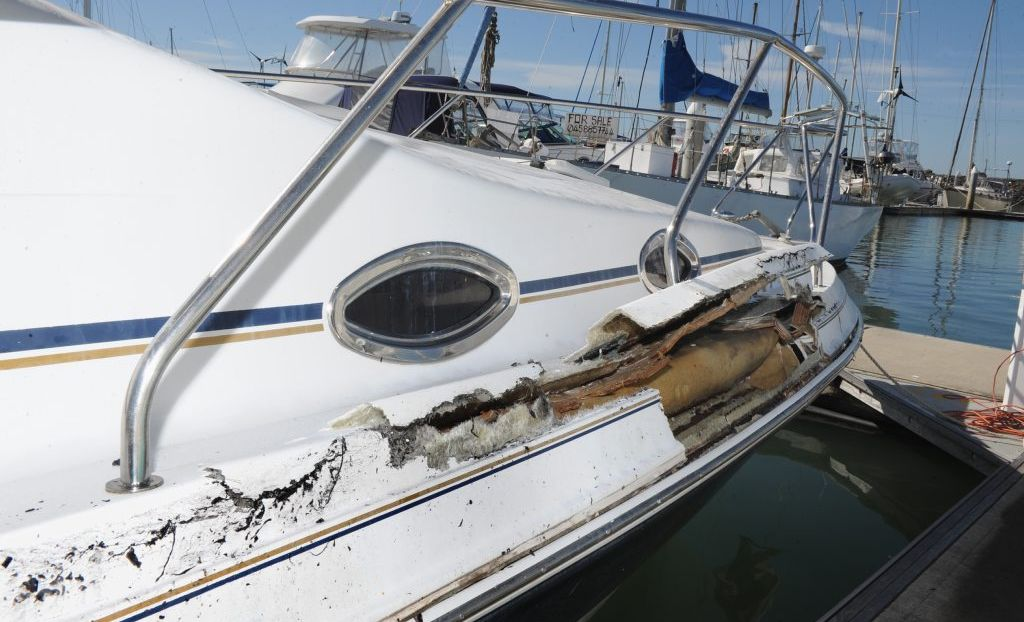 This boat was damaged when a whale breached and landed on top of it near Fraser Island.