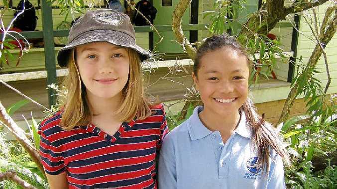 GOOLMANGAR Public School students Siobhan Towers, left, and Talisa Mayshack-Mendero.