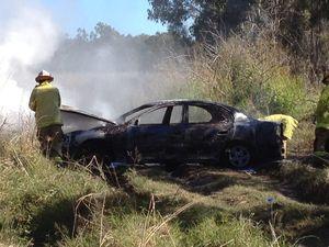 Car blaze in Point Vernon scrub