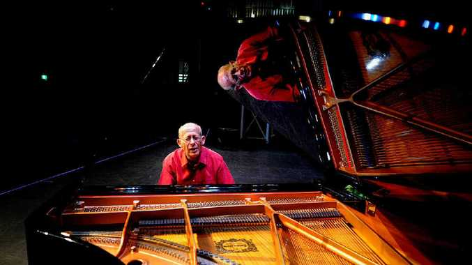 BRILLIANT REFLECTION: Famous concert pianist David Helfgott rehearsing before his performance at the Brolga Theatre.