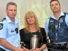 HEARTFELT MESSAGE: Senior Constable Darryl Campbell and Sergeant David Nelson with Mandy Bailey who spoke to the students of Matthew Flinders Anglican College about the death of her son in a car accident.