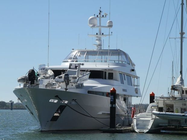 AHOY THERE: The 38 metre yacht Platinum berthed at Port Bundaberg. Photo: Paul Donaldson / NewsMail