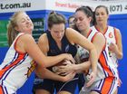 Cyclones player Amee Brown fights for posession of the ball in the basketball game against Maroochydore at Hegvold Stadium on Sunday afternoon. Photo: Chris Ison / The Morning Bulletin