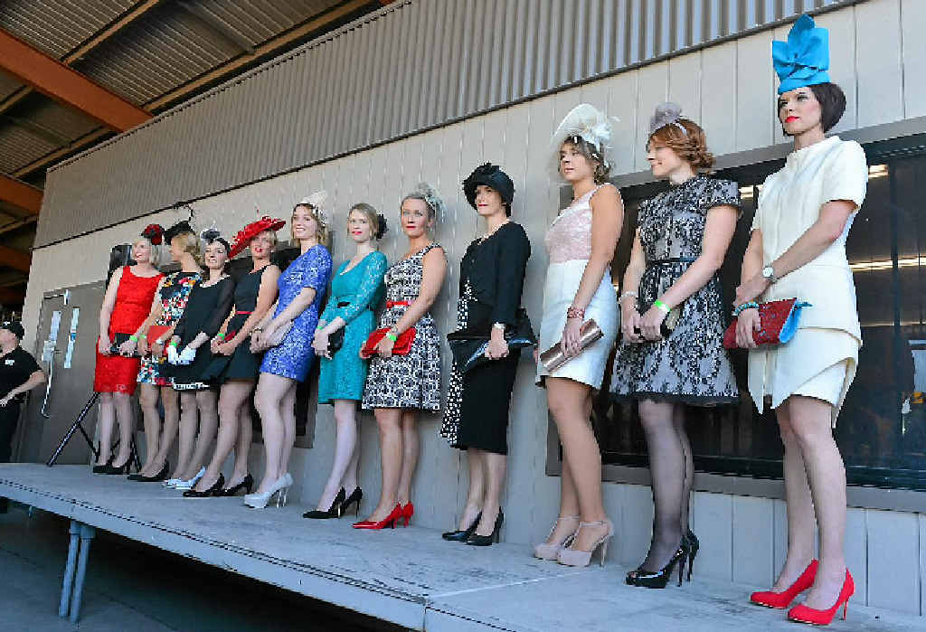LOOKING GOOD: Contestants line up for fashions in the field at the Gladstone Cup Day on Saturday