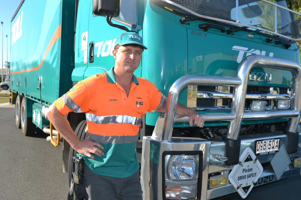 Toll NQX Truck driver Damian Herrington is angry at the TWU (Transport Workers Union) for making a particular superfund part of his enterprise bargaining agreement. Photo Lee Constable / Daily Mercury