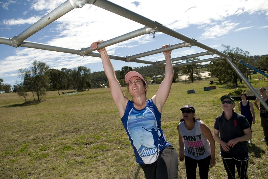 Donna Muir at the Toowoomba Super Training obstacle course session at Toowoomba Showgrounds, Sunday, August 11, 2013. Photo Kevin Farmer / The Chronicle