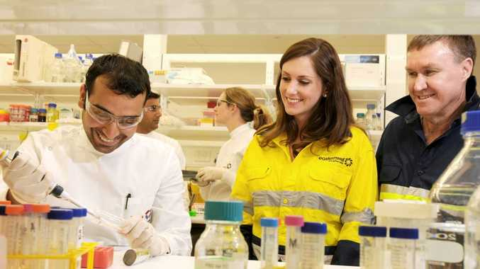 Liz Jelley (middle) and Barcoo CEO Mike Kaye (right) with prostate cancer researchers at the PA Hospital.
