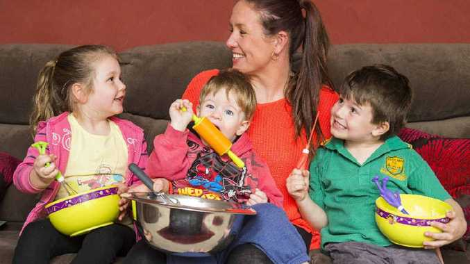 SUPERMUM: Amy Colling with her three children, Olivia, Ashton and Eli.