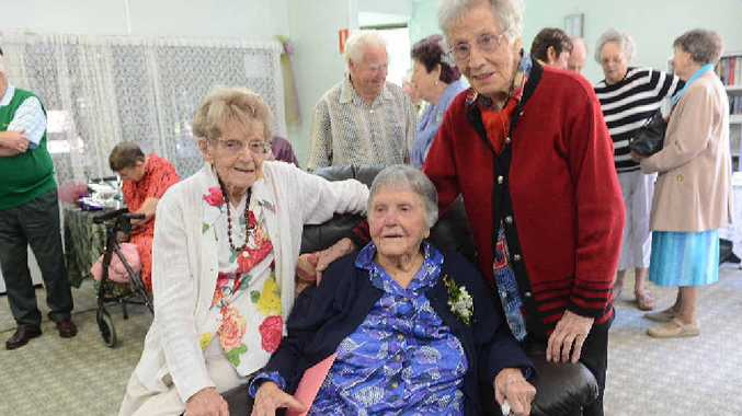 Birthday girl Hazel White (middle) who turned 100 yesterday with friends Lottie Hurford age 103 and Gert Pearson aged 98.