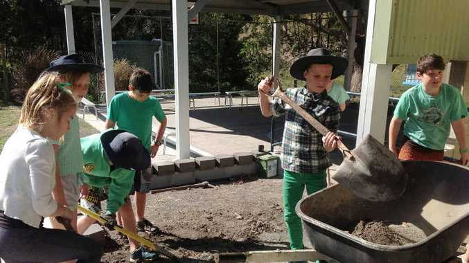 DIGGING IN: Bexhill Primary School students get down and dirty as they create new gardens on National Tree Day