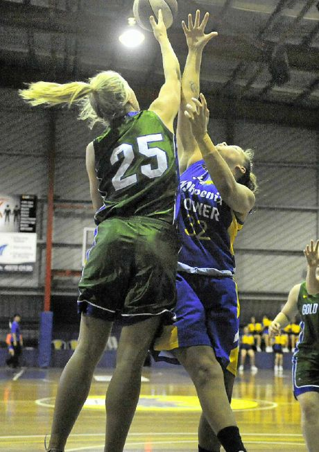 HIGH BALL: Gladstone Phoenix's Katie Rose in the match against Gold Coast Raiders at Kev Broome Stadium.