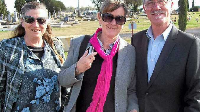 FINDING ANSWERS: Mandy Scanes, Marg Northam and Barry Spies at the funeral service for their long lost Uncle 'Doc'' Bernard Crowley.