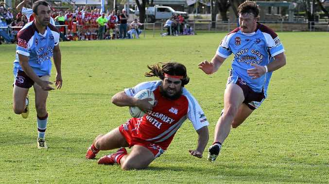OVER THE LINE: John Trindall crosses to score for the Killarney Cutters in their 46–24 semi-final win over Goondiwindi Blue.